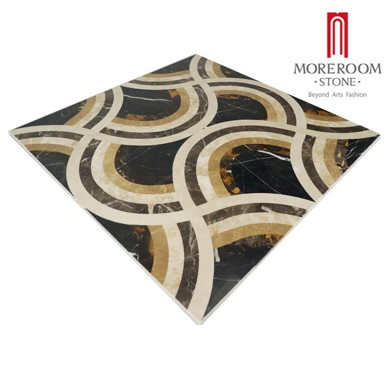 Moreroom Stone Italy Portopo Gold Marble Nero Margiua Black Marble Turkish Beige Marble Flooring Tiles Water Jet Medallion Floor Design Polished Marble Backed Ceramic Tiles-1.jpg