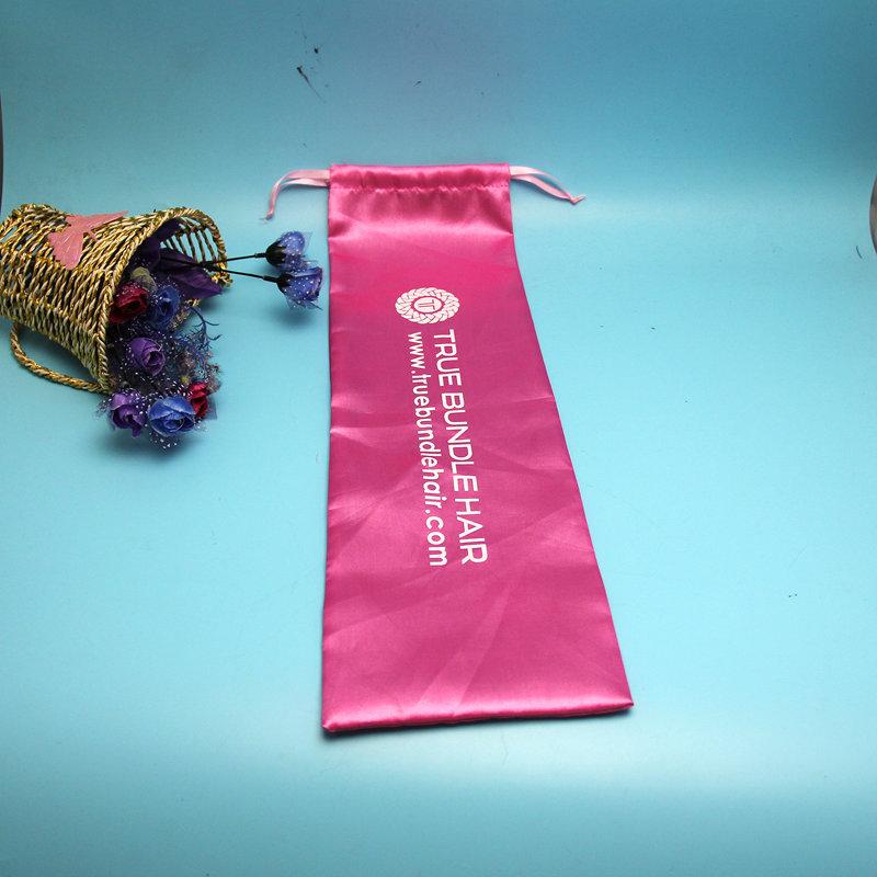 High quality fancy luxury Weave Pony pink Silk Satin Hair Bag