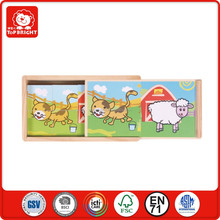 unusual 8pcs kids paster puzzles in wooden box 2 image cat and sheep animal join in a face wooden games blocks cube puzzle box