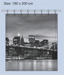 Polyester Photo Print Night Scene Bridge Design Shower Curtain