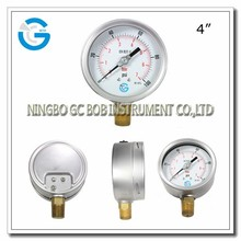 High quality stainless steel 0-100 psi 7 bar pneumatic compressed air pressure gauge with brass mounting