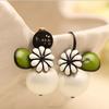 Korea fashion girl flower pearl stud earring wholesale(SWTJU375)