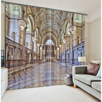 New Arabic style 3D curtains with royal hotel building curtain design