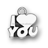 fashion and handmade antique silver plated zinc alloy engraved simple design word I love you jewelry charms direct buy China