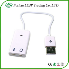 White USB 2.0 2.1 Channel Virtual 7.1 effect Audio Sound Card Adapter 3D