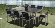 Foshan All weather black outdoor/Garden/home Brushed Aluminum patio furniture dining room set
