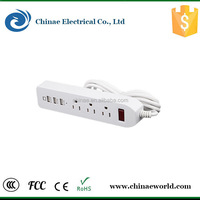 Commercial Application double American power socket outlets with 3*USB ports,wall plate socket high quality