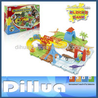 Plastic 3D Building Blocks Game with Dinosaur Toy