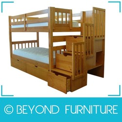 Twin Over Twin Stairway with Drawers Solid Wood Bunk Bed