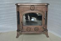 antique three sided wood burning stove