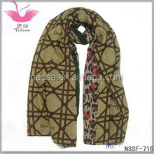 LINE CHECK LEOPARD DESIGN TWILL POLYESTER SCARF