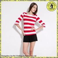 Custom-Made Autumn Red Stripe Fshion Female Upper Clothes