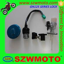 Hot sale GN125 series motorcycle ignition lock,steering lock,helmet lock,fuel tank cap,fuel cock with anti-theft lock