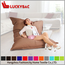 Fashion pure brown color floor beanbag, large pillow cushions, elegant living room bean bag furniture