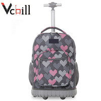 Heart Printed School Trolley Children Backpack For Kids
