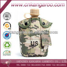 Outdoor Camouflage Military With Aluminum cup and camouflage nylon pouch plastic water bottle