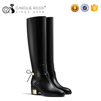 2016 fashion italian women black winter boots with gold buckle