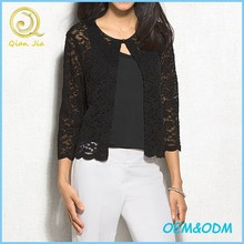 2015 fashion sheer floral black lace short cardigan women small coats