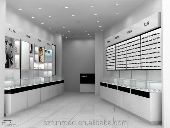 Latest design optical shop display furniture store for A t design decoration co ltd