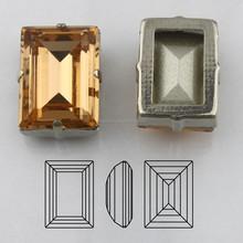 Rhinestone Sew On Settings in Light Peach Sew on Beads Rectangle 10*14mm