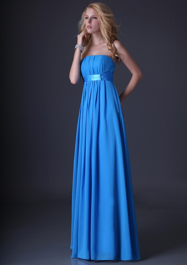 Grace Karin 2015 Elegant Strapless Blue Chiffon Long Prom dresses CL3458