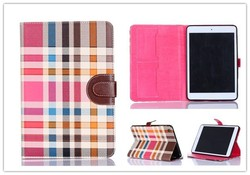 Luxury Grid Stand PU Leather Smart Cover Wallet leather case For Apple iPad Mini