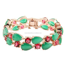 Europe and America AAA zircons paved solid gold plated women fashion bracelet