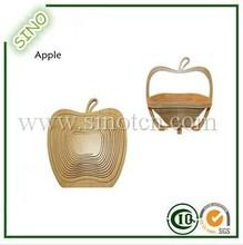 Apple Shaped Folading Bamboo Fruit Basket