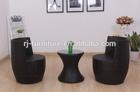 Forma de vaso de vime apartamento cadeira de jardim/sofa/almofada impermeável/lado chá tabela/vidro temperado