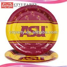 low price party Paper Theme Plates snow spray Colorful round paper plate