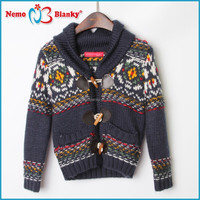 hot selling 2-10 years boy v neck knitting intarsia cardigan sweater wool cashmere kid sweater design for baby