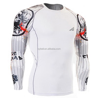 Fashion printing Long seleeves men polyester rush guard