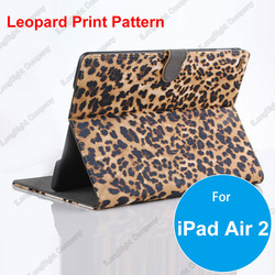 Sexy Leopard Pattern PU Leather Protective Skin Smart Stand Case Cover for iPad Air 2,Tablets PC Leopard Print Leather Cases
