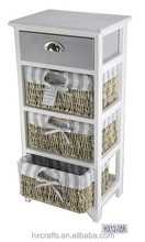 Shabby and chic Wooden tall Cabinet with rush drawers