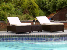 2015 New Style Black/Brown Weave mix Naples Sun Lounger