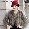 YR-583 Raccoon Fur Coat /Knitted raccoon fur/real leather jacket women