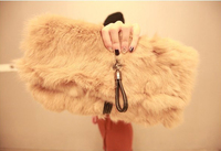 V8326 FALL-WINTER 2016 Rabbit Fur Evening Clutch Branded Bags Handbag