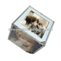 16x16x16cm promotional gift rotating revolving photo cube with LED light