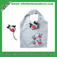 190T Polyester Reusable Cow Shaped Foldable Bag / Cow Folding Shopping Bag / Cow Foldable Bag