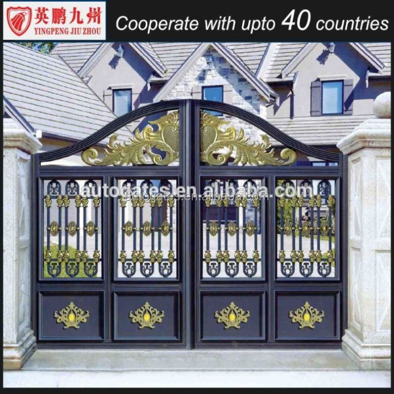 House gate grill designs classical metal swing single storey floor ...