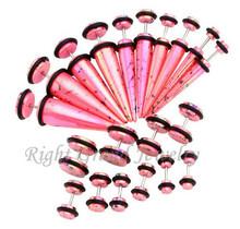 Pink UV Acrylic AB Coated Splatter Fake Plugs Fake Ear Stretchers