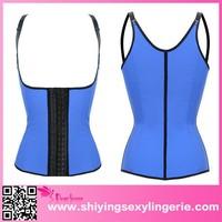 latex blue steel bone waist training body shaper corset wholesale
