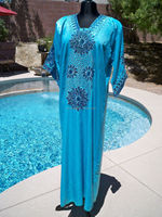 Sequins moroccan blue satin caftan kaftan maxi dress gown jalabiya arabic islam arabic evening dress long sleeve