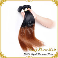 Wholesale hair extension virgin indian ombre hair silk straight ombre hair weave