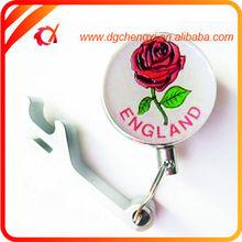 promotional flower epoxy dome logo pull reel with aluminum bottle opener