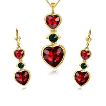2015 women wedding bridal 18K Gold Plated shine red Zircon heart Pendant Necklace Earrings fashion women crystal jewelry