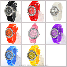 8 Colors Fashion Crystal Jelly Gel Silicon Girl Women's Geneva Quartz Wrist Watch