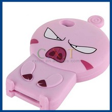 Baby7 Silicone Angry Pig Design Protective Case for iPhone 4 & 4S (Pink)