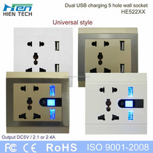 Power socket USB wall socket with 2 usb ports 5v2.1a and 5v2.4a for mobile phone and tablet charging without chargers