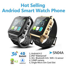 Cheap MTK6572 dual core bluetooth watch phone, high resolution android waterproof 3G smart watch